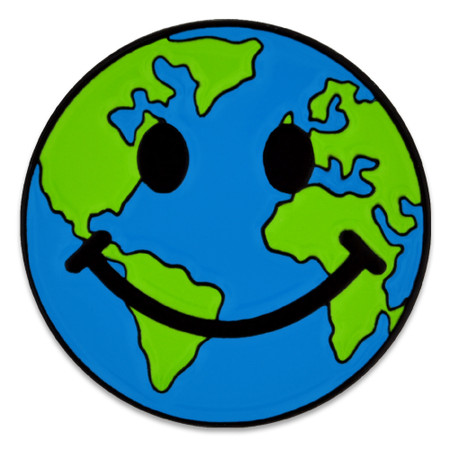 Smiley Earth Pin Front