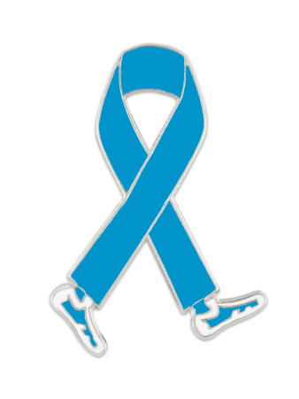 Walking Light Blue Ribbon Pin Front