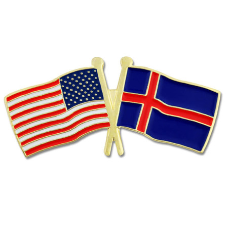 USA and Iceland Flag Pin Front