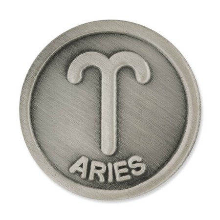 Antique Silver Aries Zodiac Pin Front
