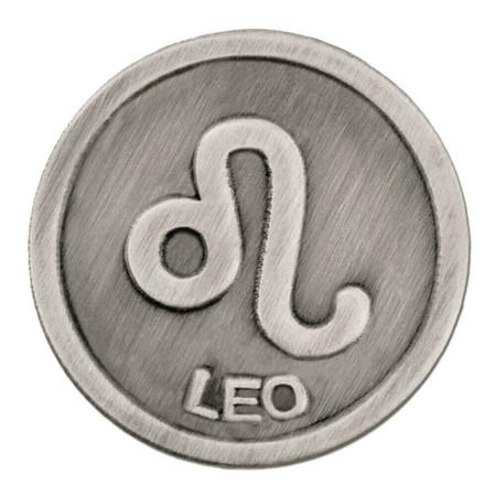 Antique Silver Leo Zodiac Pin Front
