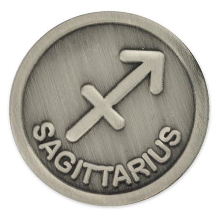 Antique Silver Sagittarius Zodiac Sign Front
