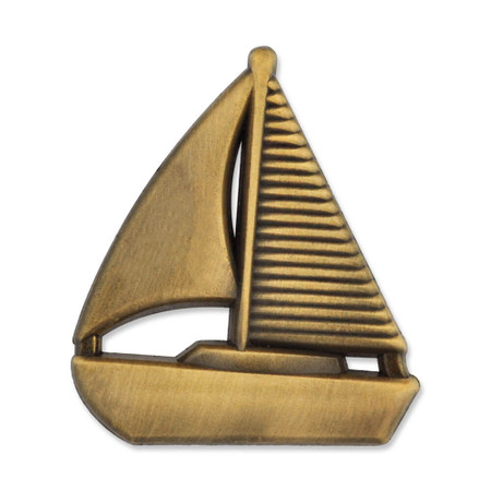 Sailboat Pin - Antique Gold Front