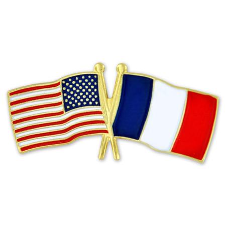 USA and France Flag Pin