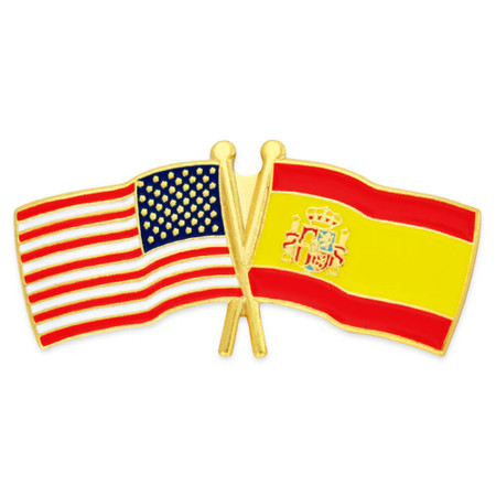 USA and Spain Flag Pin Front