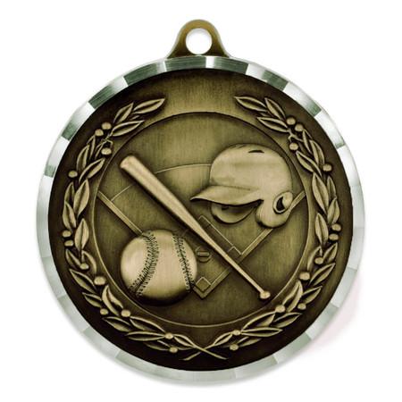 """2"""" Diamond Cut Baseball Medal - Engravable"""