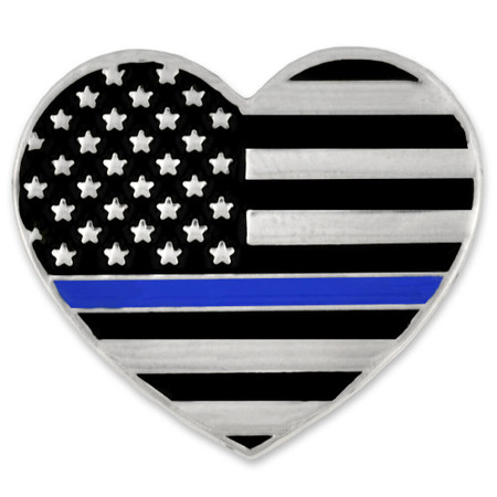 Thin Blue Line Heart Pin Front