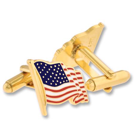 Waving American Flag Cufflink Set Gold Alt