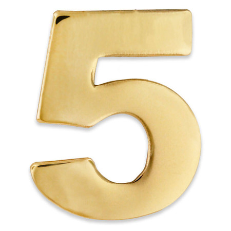 Gold Number 5 Pin Front