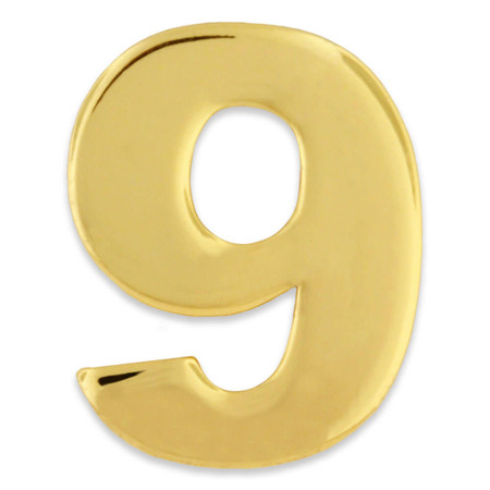 Gold Number 9 Pin Front