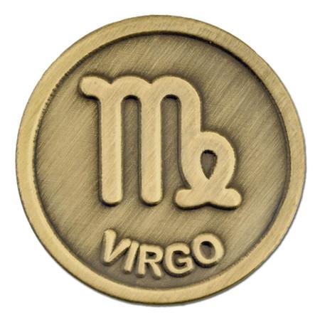 Antique Gold Virgo Zodiac Pin Front