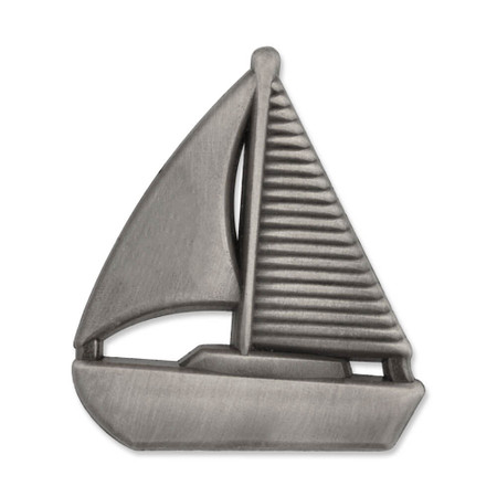 Sailboat Pin - Anitque Silver Front