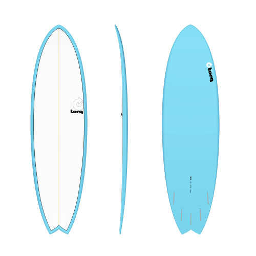 "6'6"" TORQ EPOXY MOD FISH BLUE/WHITE NEW SURFBOARD"