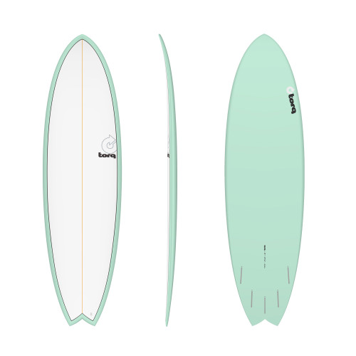 "6'6"" TORQ EPOXY MOD FISH SEAGREEN/WHITE NEW SURFBOARD"