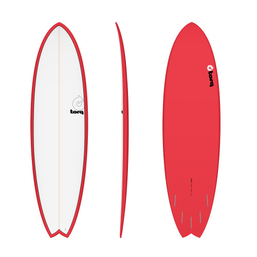 "6'10"" TORQ EPOXY MOD FISH RED/WHITE NEW SURFBOARD"