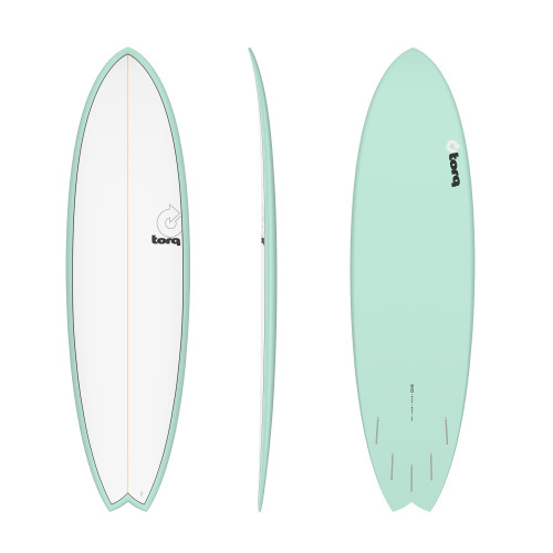 "6'10"" TORQ EPOXY MOD FISH SEAGREEN/WHITE NEW SURFBOARD"