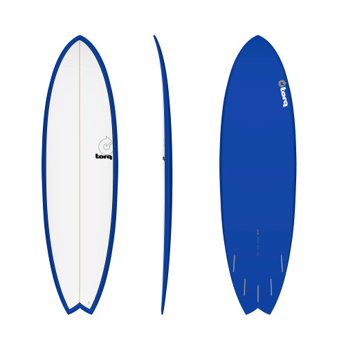 "6'3"" TORQ EPOXY MOD FISH NAVY/WHITE NEW SURFBOARD"