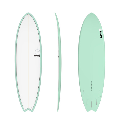 "6'3"" TORQ EPOXY MOD FISH SEAGREEN/WHITE NEW SURFBOARD"