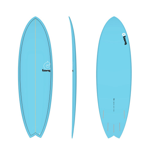 "5'11"" TORQ EPOXY MOD FISH BLUE PINLINE NEW SURFBOARD"