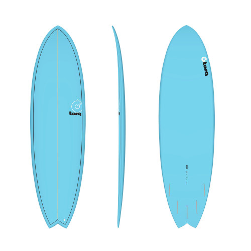 "6'3"" TORQ EPOXY MOD FISH PINLINE BLUE NEW SURFBOARD"