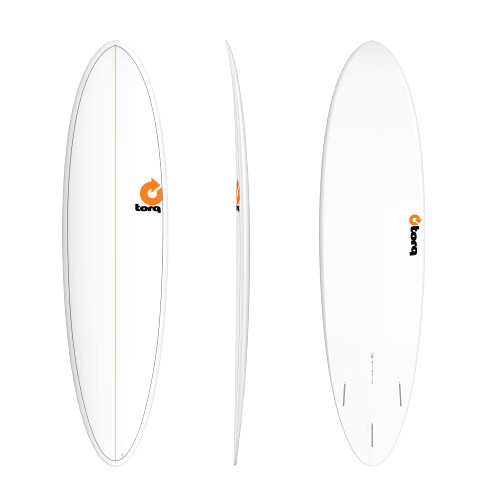"7'2"" TORQ MOD FUN WHITE PINLINE NEW SURFBOARD"