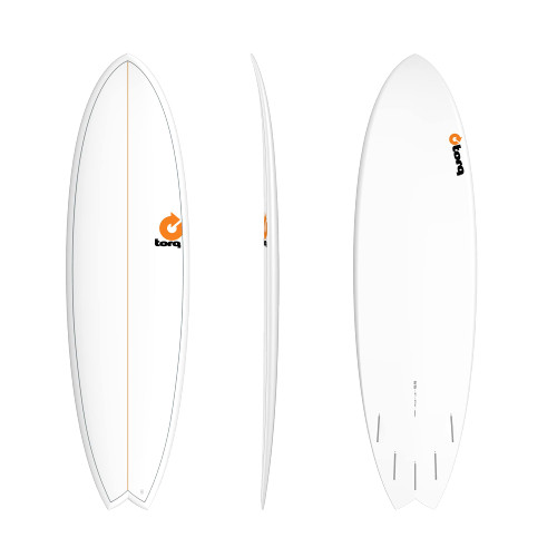 "6'6"" TORQ EPOXY MOD FISH WHITE PINLINE NEW SURFBOARD"