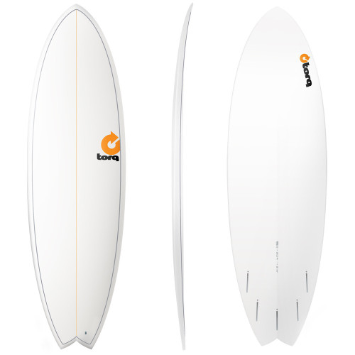 "7'2"" TORQ EPOXY MOD FISH WHITE PINLINE NEW SURFBOARD"