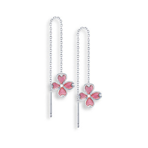 Vitreous Plique-a-Jour Enamel on Sterling Silver Flower Chain Threader Earrings-Pink. Set with White Sapphires. Rhodium plated for easy care.