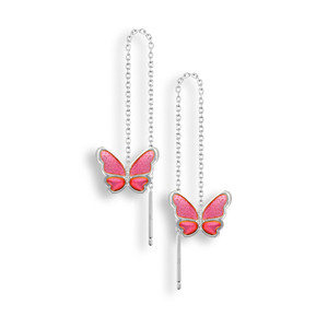 Vitreous Plique-a-Jour Enamel on Sterling Silver Butterfly Chain Threader Earrings-Pink