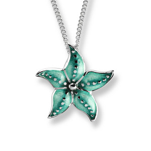 Sterling Silver Starfish Necklace in Green