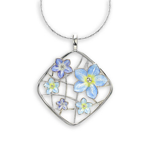 """Sterling Silver """"Forget me Not"""" Cluster Necklace"""