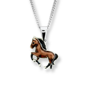 Sterling Silver Brown Horse Necklace