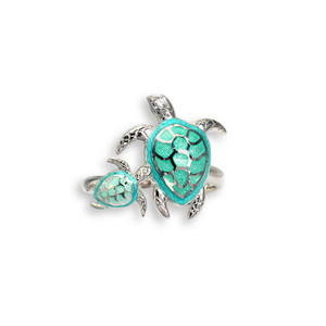 Sterling Silver Mother & Baby  Sea Turtles Ring