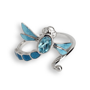 Sterling Silver Dragonfly Ring in Blue