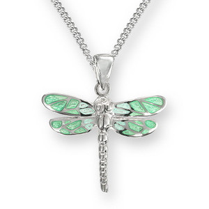 Sterling Silver Dragonfly Necklace-Green