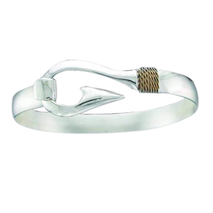 Fisherman's Hook Bracelet in Sterling Silver with 14kyg Roping