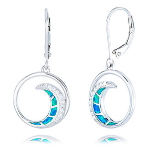 Sterling Silver Opal Inlay Wave Earrings