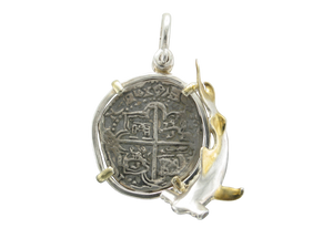 Sterling Silver Atocha Coin Replica with Hammerhead Shark