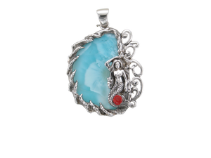 SS Custom Larimar with Mermaid Pendant