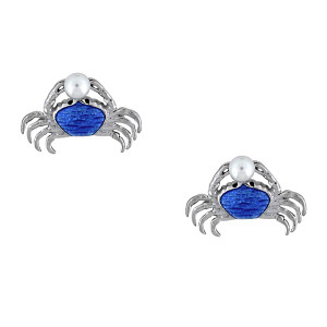 Crab Stud Earrings-Blue