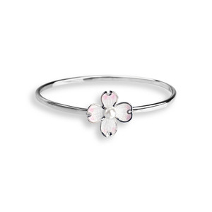 Vitreous Enamel on Sterling Silver Dogwood with Pearl bangle bracelet. This item comes in a standard size 7.