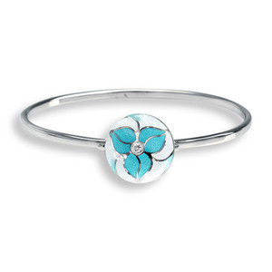 Vitreous Enamel on Sterling Silver Trillium Bangle in blue. This item is Rhodium plated for easy care. This item is a standard size 7.