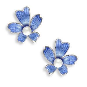 Vitreous Plique-a-Jour Enamel on Sterling Silver Flower Stud Earrings. Blue. Set with Freshwater Pearls. Rhodium Plated for easy care.