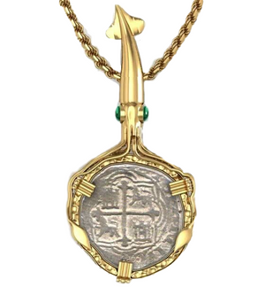 Sterling Silver and Vermeil Squid Shipwreck coin pendant.  (Shown in Sterling Silver & Gold Vermeil)