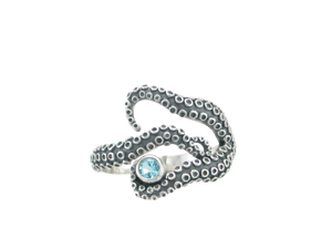 Sterling Silver Oxidized 3 Tentacle Octopus Ring