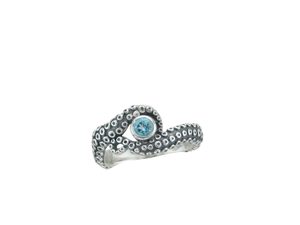 Sterling Silver Oxidized 2 Tentacle Octopus Ring
