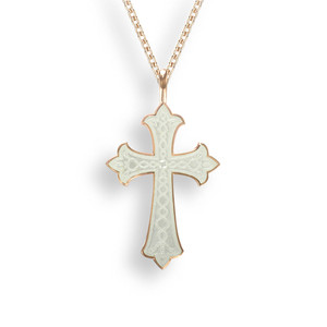 SS Rose Gold Plated Necklace-Cross-White
