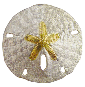 Sterling Silver with 14k Vermeil Multi Function Sand Dollar. This item can be worn on the Armada Double Hook Bracelet or as a pendant.