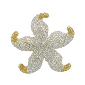 Star Fish Multi Function Setting - Sterling Silver w/24k vermeil accent