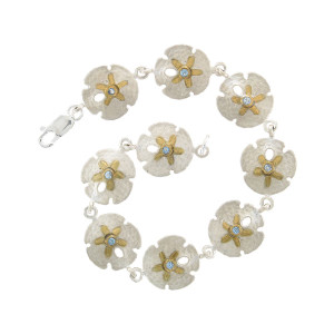 Sand Dollar Link Bracelet with Gemstones